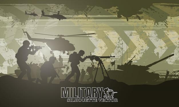 Ilustracja Wojskowa, Tło Armii, Sylwetki żołnierzy, Dzień Szczęśliwy Weteranów. Premium Wektorów