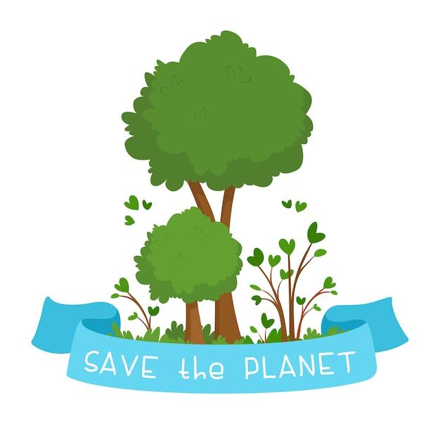 """Ilustracja Wspierająca Ochronę środowiska. Dwa Zielone Drzewa I Niebieska Wstążka Z Napisem """"save The Planet"""". Pojęcie Zagadnień środowiskowych. Płaska Ilustracja Darmowych Wektorów"""