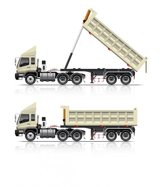 Ilustracja wywrotki ciężarówki z przyczepą Premium Wektorów