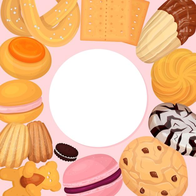 Ilustracja Wzór Ciasta Ciasteczka. Słodki Pączek Herbatników, Pyszny Słodki Przysmak Na Słodycze Premium Wektorów