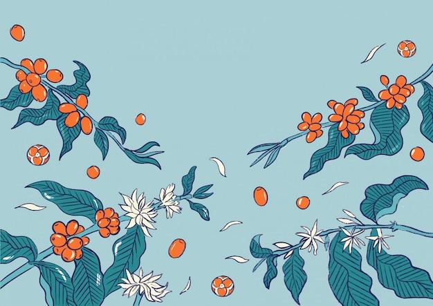 Ilustracja Wzór Roślin Wiśni Kawy Premium Wektorów