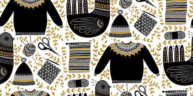 Ilustracja wzór sztuki ludowej z ptakami i zestaw narzędzi do dziania i szydełkowania. skandynawska ręcznie rysowana kompozycja. przędza, nożyczki, sweter, czapka. Premium Wektorów