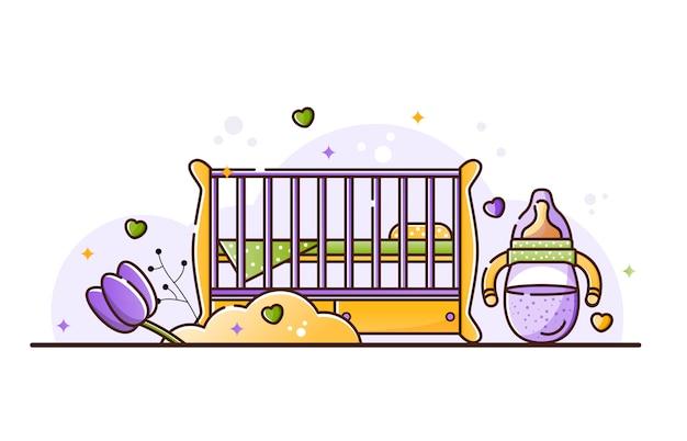 Ilustracja z akcesoriami dla dzieci Premium Wektorów