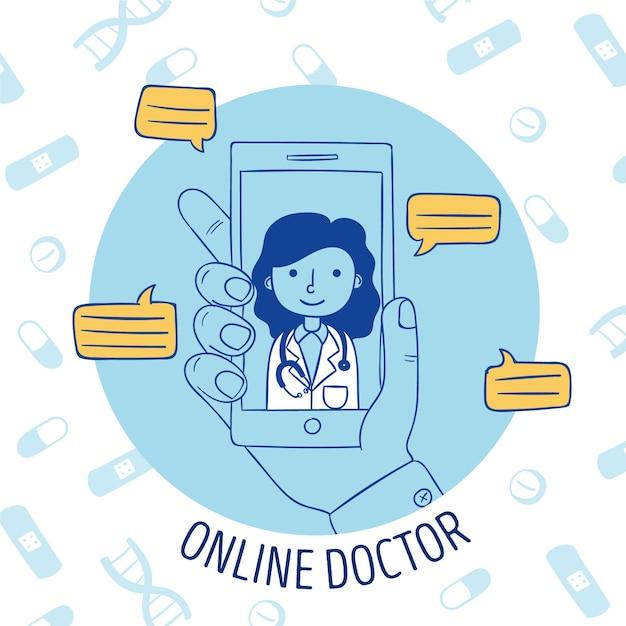 Ilustracja Z Koncepcją Lekarza Online Darmowych Wektorów