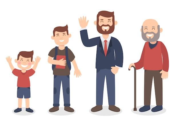 Ilustracja Z Osobą W Różnym Wieku Darmowych Wektorów