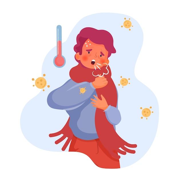 Ilustracja Z Osobą Z Przeziębieniem Darmowych Wektorów