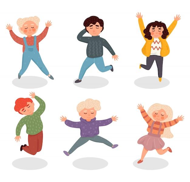 Ilustracja Z Prostymi Płaskimi Postaciami - Szczęśliwe Uśmiechnięte Dzieci Bawiące Się Razem I Skaczące Premium Wektorów