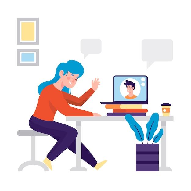 Ilustracja Z Przyjaciółmi Koncepcja Połączenia Wideo Darmowych Wektorów