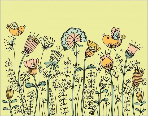 Ilustracja z ptaków latających wokół kwiatów Premium Wektorów