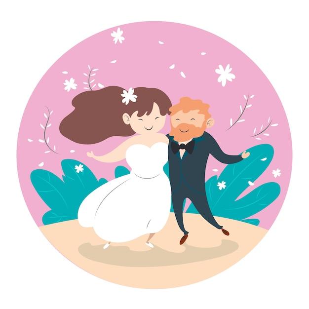 Ilustracja Z ślubu Pary Pojęciem Darmowych Wektorów