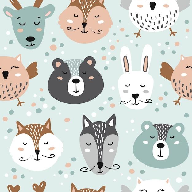 Ilustracja Z Uroczymi Zwierzętami. Niedźwiedź, Lis, Zając, Wilk, Sowa, Jeleń. Premium Wektorów