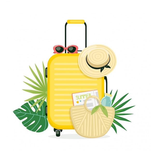 Ilustracja Z żółtą Walizką, Czapką Plażową I Torebką. Bagaż Na Wakacje. Koncepcja Letnich Podróży Premium Wektorów