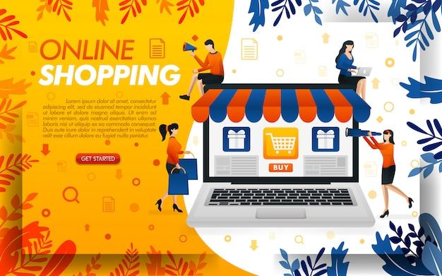 Ilustracja zakupów online z gigantycznymi laptopami i ludźmi na zakupy Premium Wektorów