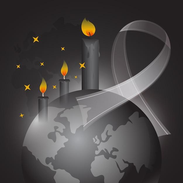 Ilustracja żałoby Po Ofiarach Darmowych Wektorów