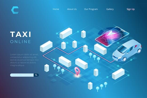 Ilustracja Zamówień Taksówek Online Za Pośrednictwem Smartfonów I Technologii Cyfrowej Nawigacji W Izometrycznym Stylu 3d Premium Wektorów