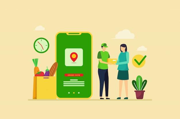 Ilustracja Zamówienia Dostawy żywności Z Płaskiej Koncepcji Projektu Premium Wektorów