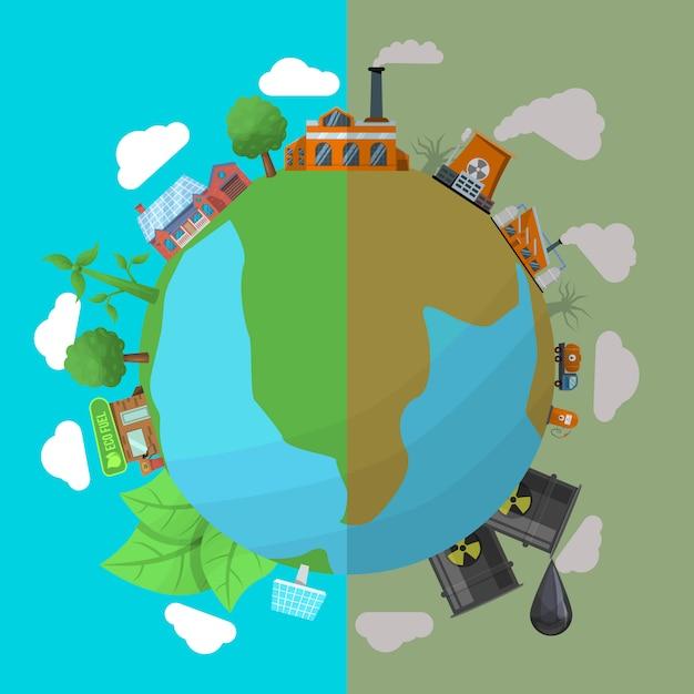 Ilustracja Zanieczyszczenia środowiska Darmowych Wektorów