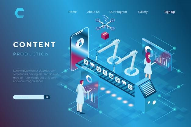 Ilustracja Zawartości Produkcji Mediów Społecznościowych I Strony Internetowej / Blogu, Ilustracja Integracji Branży Z Cyfrową W Izometrycznym Stylu 3d Premium Wektorów