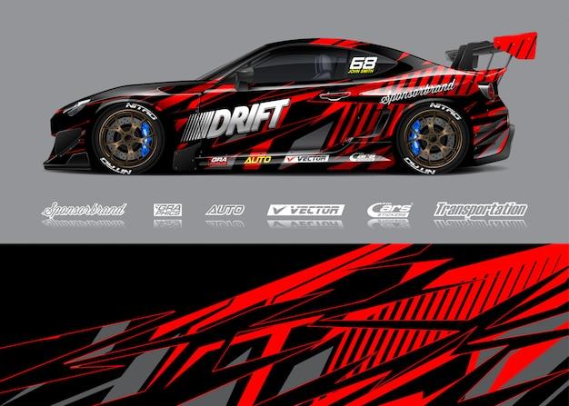 Ilustracja Zawijanie Samochodów Wyścigowych Premium Wektorów