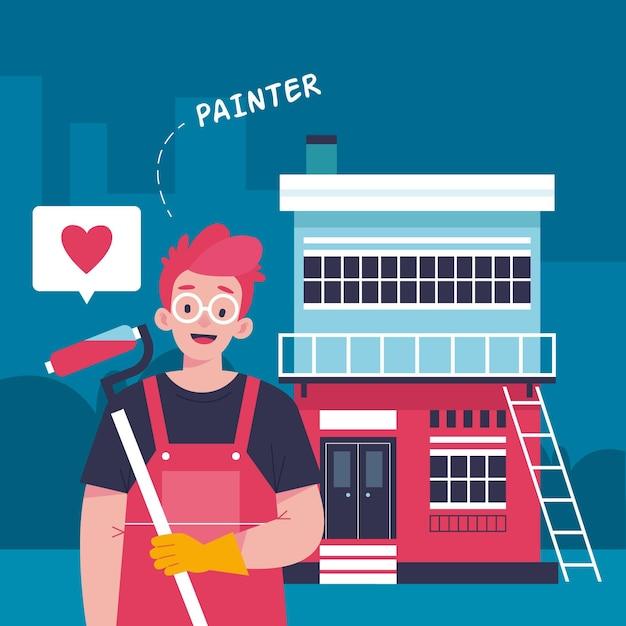 Ilustracja Zawodów Gospodarstwa Domowego I Renowacji Darmowych Wektorów
