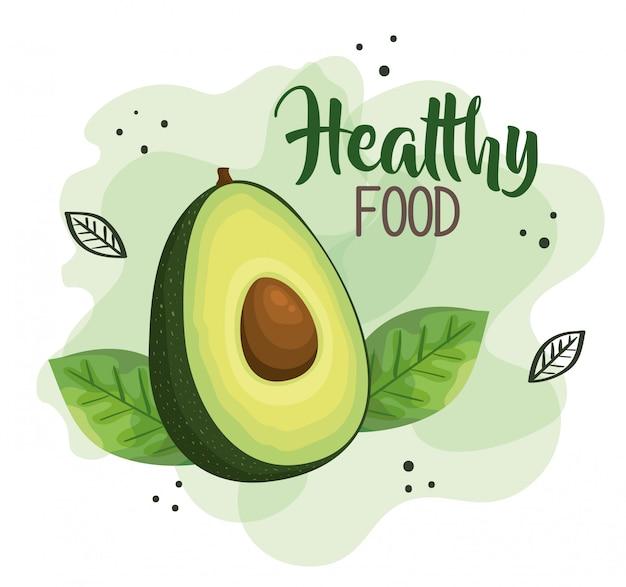 Ilustracja Zdrowej żywności Z Awokado Premium Wektorów