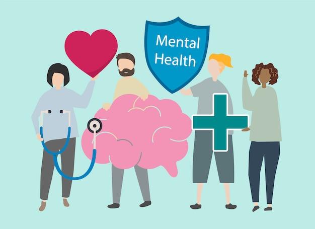 Ilustracja zdrowia psychicznego i zaburzeń Darmowych Wektorów