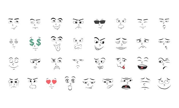 Ilustracja zestaw emocji Darmowych Wektorów