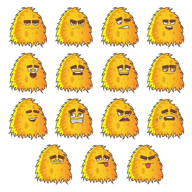Ilustracja zestaw futra żółty potwór Premium Wektorów
