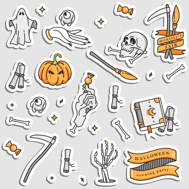 Ilustracja Zestaw Ikon Liniowych Dla Happy Halloween. Odznaki I Etykiety Na Imprezę I Targi. Naklejek Oszukuj Lub Traktuj. Cytaty Typograficzne. Naszywki I Przypinki. Premium Wektorów