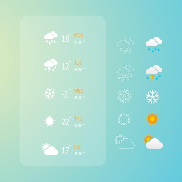 Ilustracja Zestaw Ikon Web Pogody Premium Wektorów