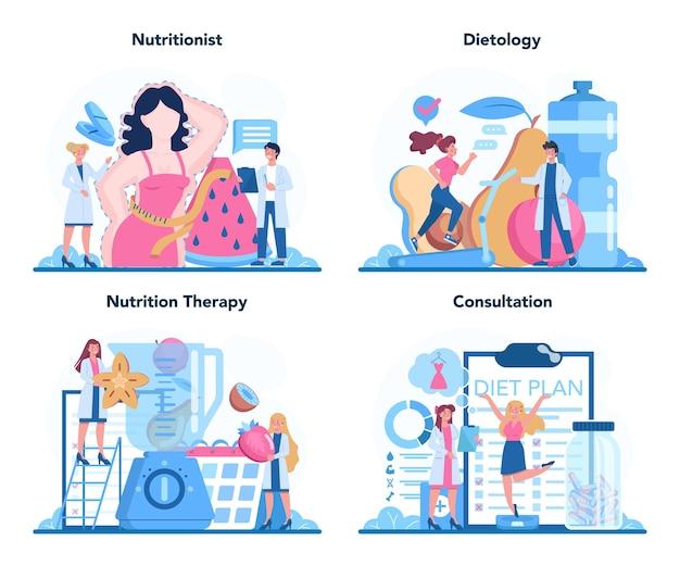 Ilustracja Zestaw Koncepcji Dietetyka Premium Wektorów