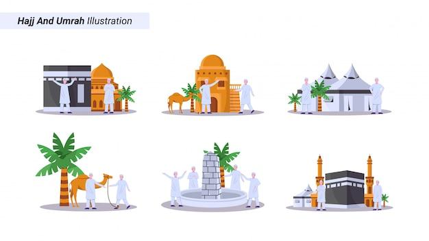 Ilustracja Zestaw Muzułmanów Zrobić Pielgrzymkę, Tawaf Przed Kaaba W Wielkim Meczecie Premium Wektorów