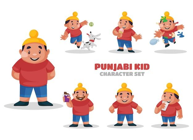 Ilustracja Zestaw Znaków Kid Punjabi Premium Wektorów