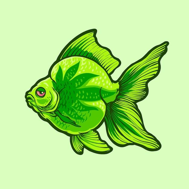 Ilustracja Zielonej Ryby Premium Wektorów