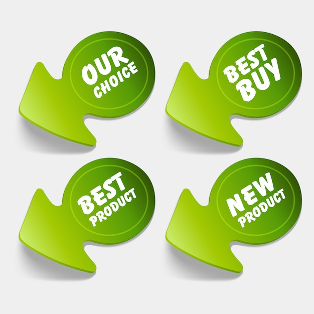 Ilustracja Zielonych Etykiet Lub Najlepszych Produktów Premium Wektorów