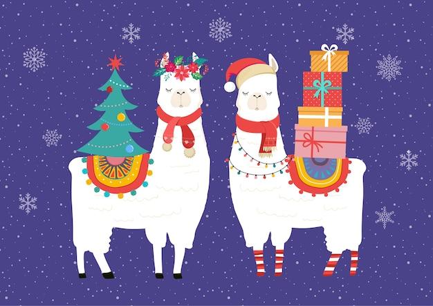 Ilustracja Zima Lamy, ładny Projekt Dla Przedszkola, Plakat, Wesołych świąt, Urodzinowa Kartka Z życzeniami Premium Wektorów