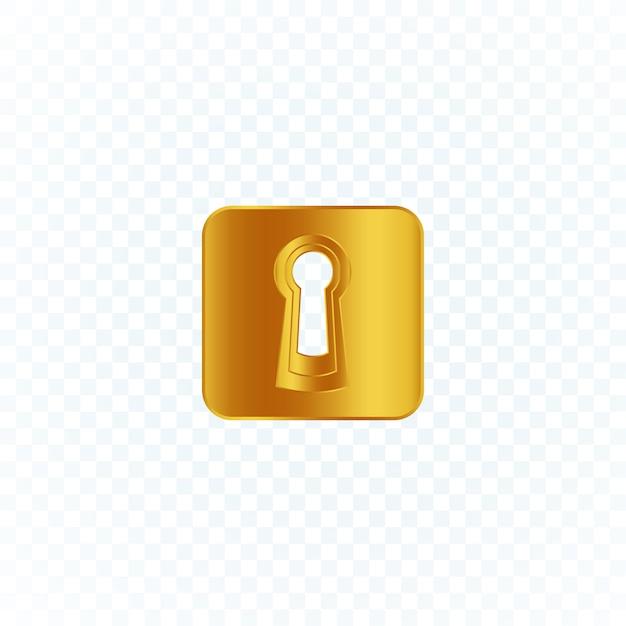 Ilustracja Złota Dziurka Od Klucza. Premium Wektorów