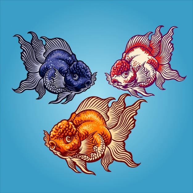 Ilustracja złota ryba Premium Wektorów