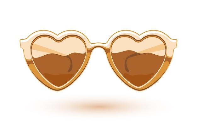 Ilustracja Złote Metalowe Okulary W Kształcie Serca. Logo Noszenia Oczu. Symbol Miłości. Premium Wektorów