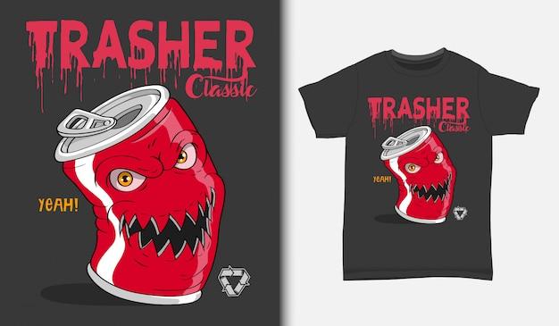 Ilustracja Zły Puszki Po Napojach, Z T-shirt, Ręcznie Rysowane Premium Wektorów
