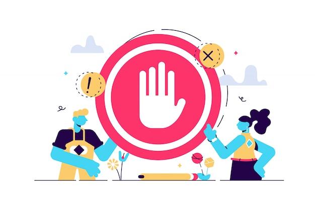 Ilustracja Znak Stopu. Płaski Drobny Zakaz Bez Pojęcia Osoby Gest. Symboliczne Ostrzeżenie, Informacje O Niebezpieczeństwie Lub Bezpieczeństwie. Niedozwolony Wjazd Lub Zakaz Strefy Lub Zablokowany Alarm Drogowy. Premium Wektorów