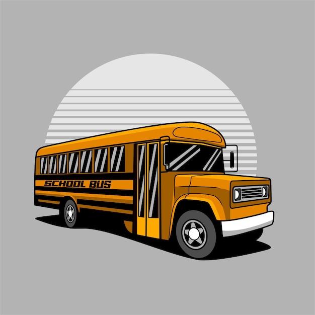 Ilustracja żółty Autobus Szkolny Premium Wektorów