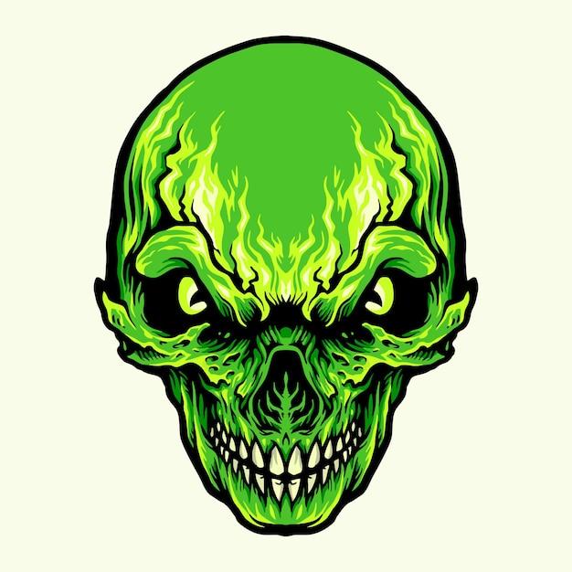 Ilustracje Głowy Zły Zielony Czaszki Premium Wektorów