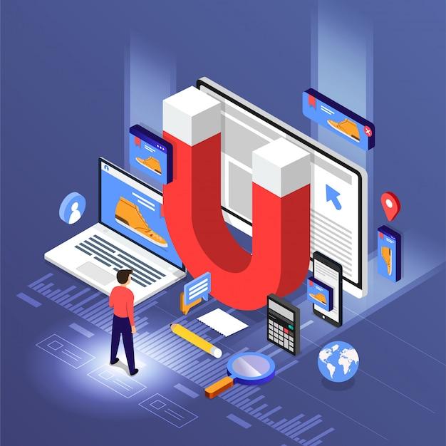 Ilustracje Koncepcja Marketingu Przychodzącego Premium Wektorów