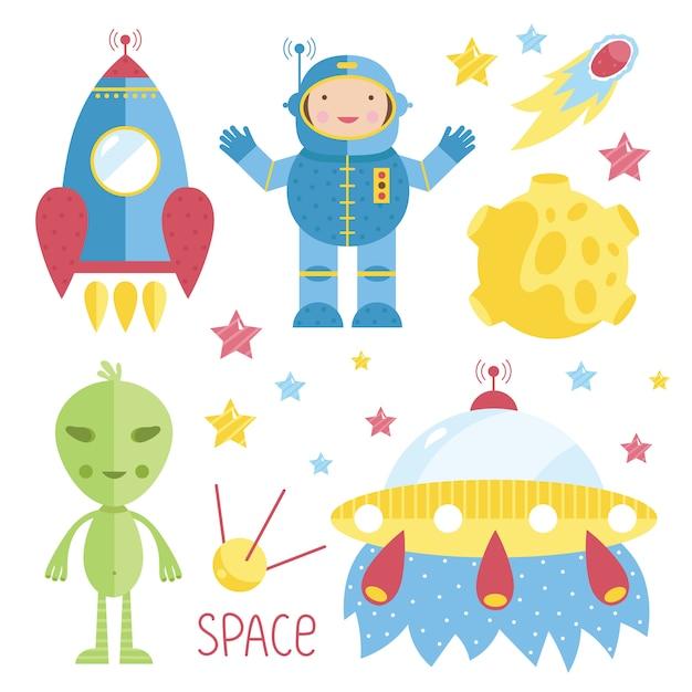 Ilustracje kreskówek o kosmosie Premium Wektorów
