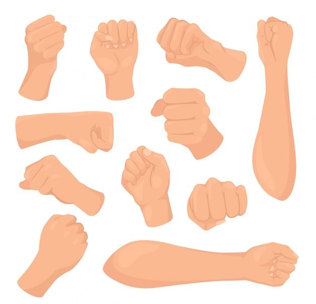 Ilustracje Kreskówka Pięść, Ręka Kobiety Z Zaciśniętej Dłoni, Podniesiona Ręka Zestaw Ikon Na Białym Tle Premium Wektorów