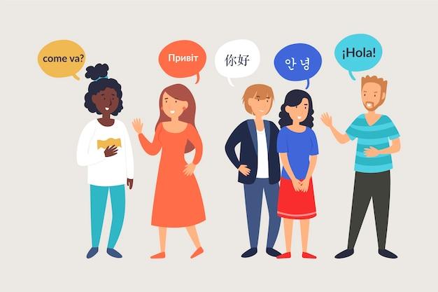 Ilustracje młodych ludzi rozmawiają w różnych językach Darmowych Wektorów
