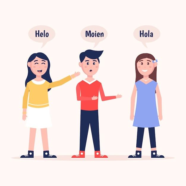 Ilustracje młodych ludzi rozmawiających w różnych językach Darmowych Wektorów