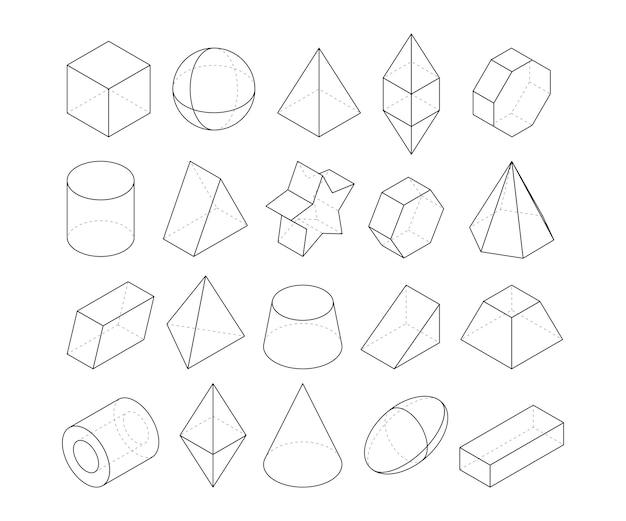 Ilustracje Monoline. Ramy O Różnych Kształtach Geometrycznych. Liniowa Figura Geometryczna Wielokąt, Ośmiościan I Ostrosłup, Geometryczny Stożek I Kula Premium Wektorów