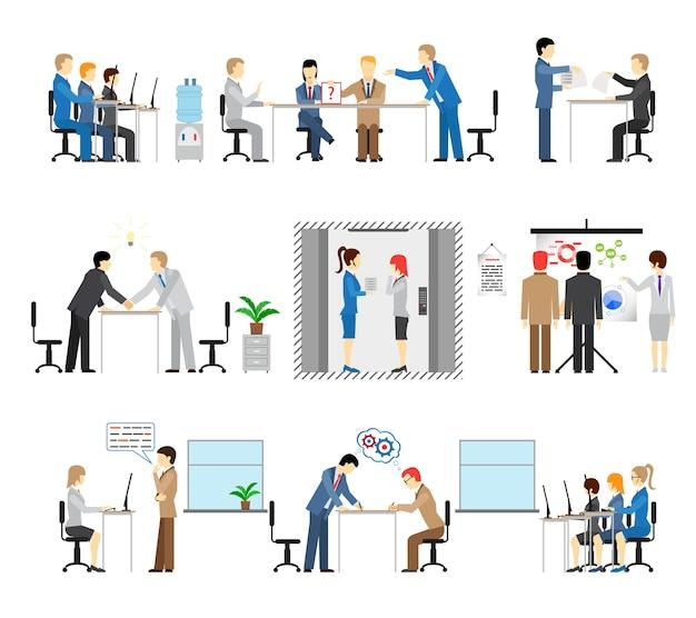 Ilustracje Osób Pracujących W Biurze Z Grupami Na Spotkaniach Darmowych Wektorów